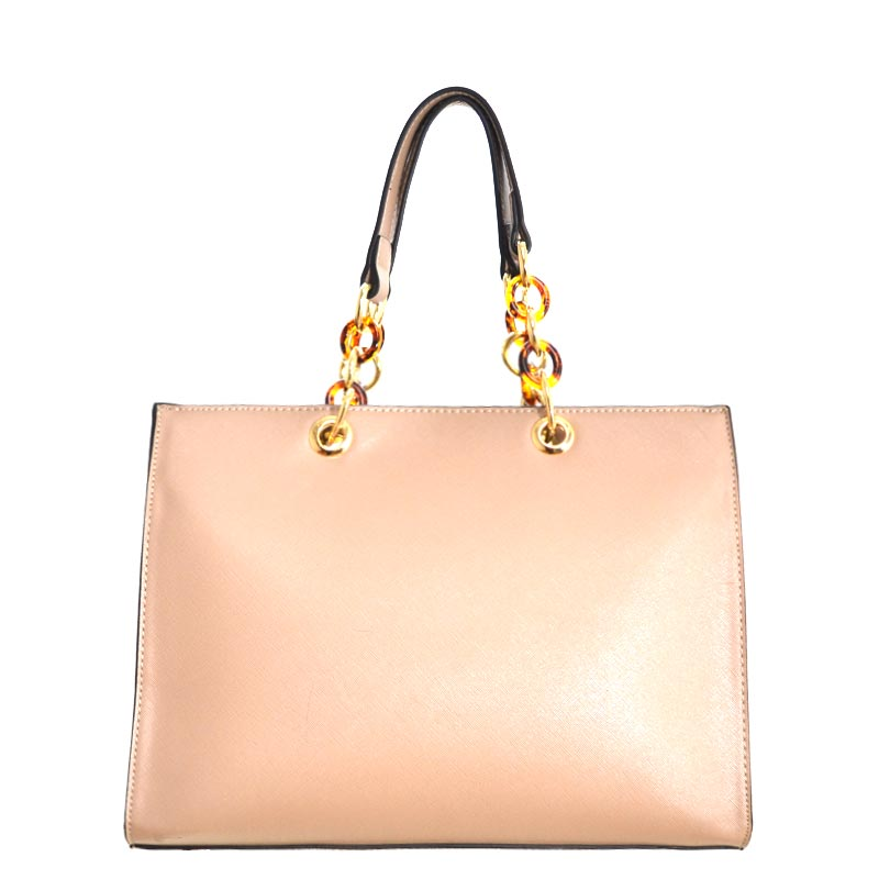 Chain Deco Handle Elegant Fashion Handbag Nude