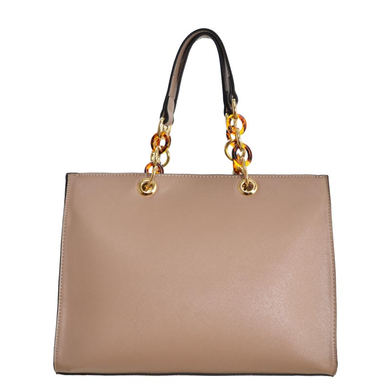 Chain Deco Handle Elegant Fashion Handbag Taupe