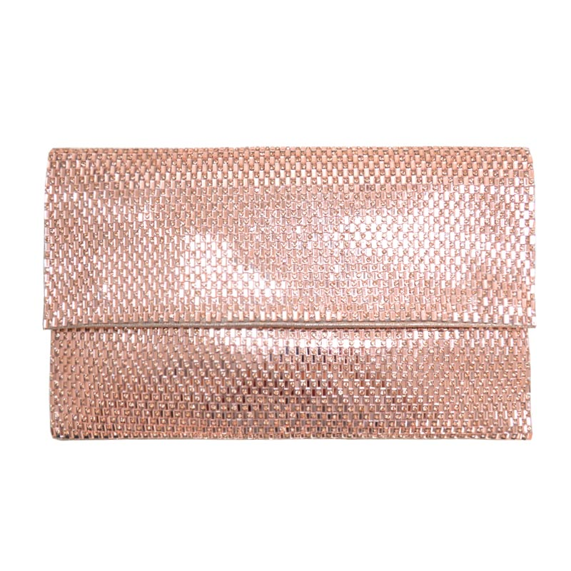 Chic Glossy Textured Princess Clutch with Chain Rose Gold