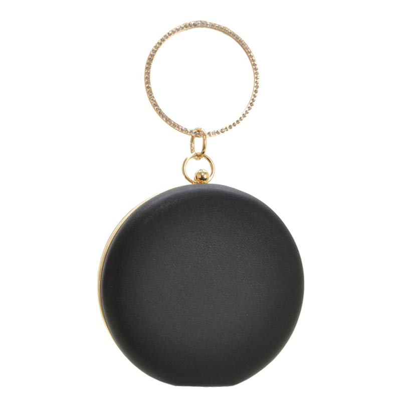 Theme Ring Handle Round Clutch Black
