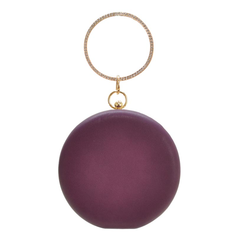Theme Ring Handle Round Clutch Light Purple