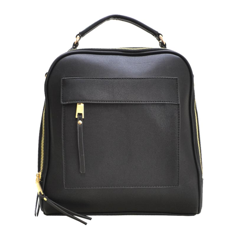 Textured Pu Leather Backpack Black