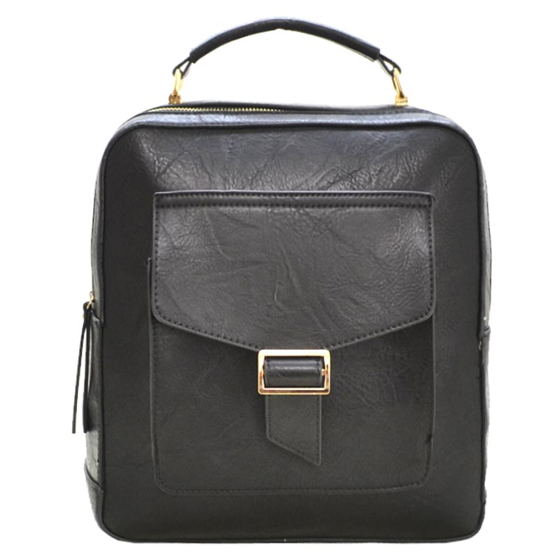 Square Pocket Backpack Black