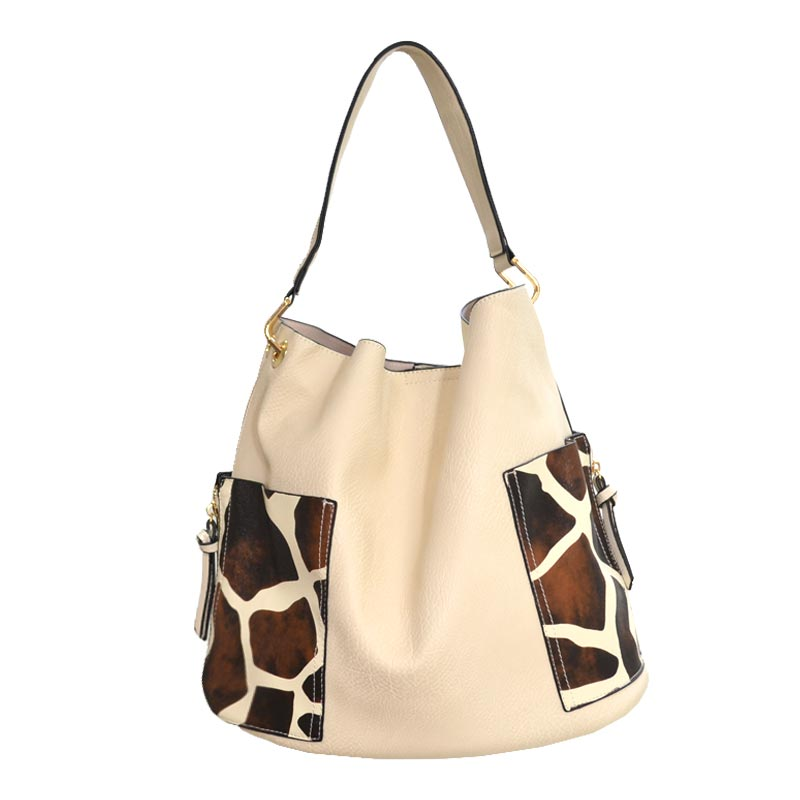 2 in 1 Giraffe fashion Tote Bag Beige
