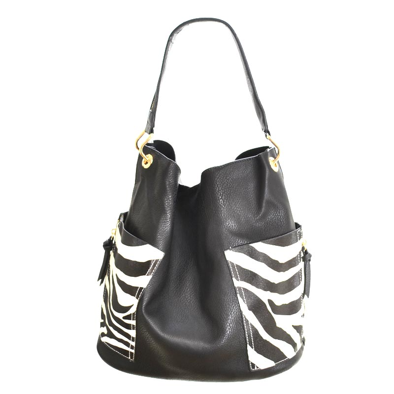 2 in 1 Zebra fashion Tote Bag Black