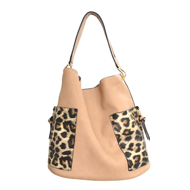 2 in 1 Leo fashion Tote Bag Taupe
