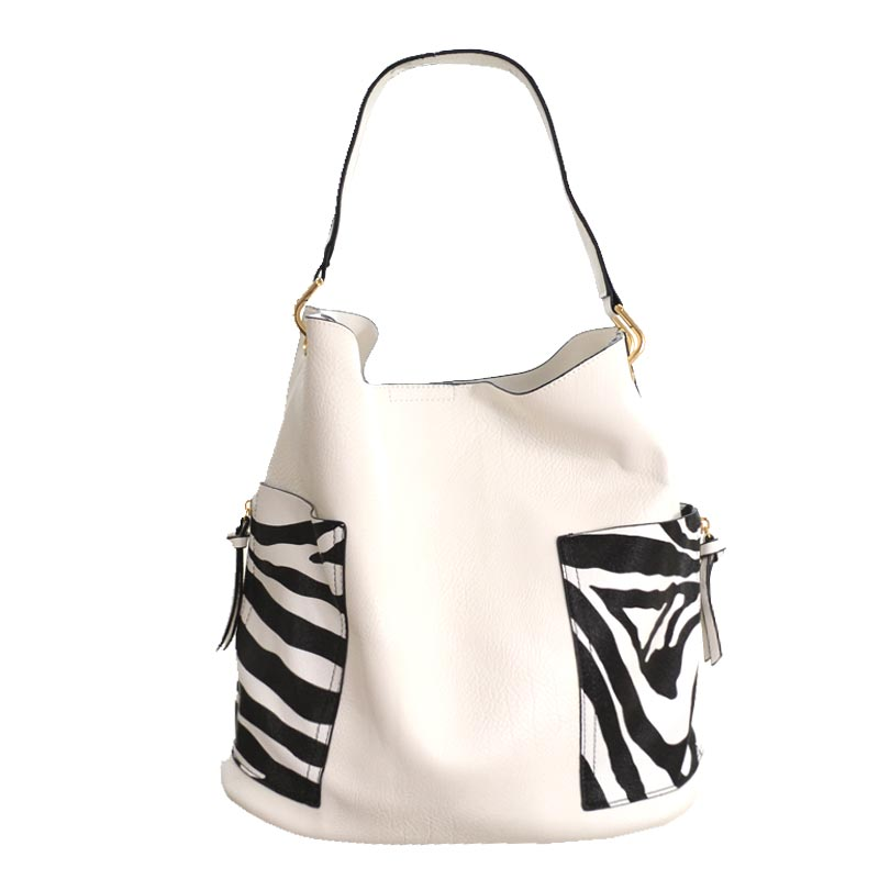 2 in 1 Zebra fashion Tote Bag White