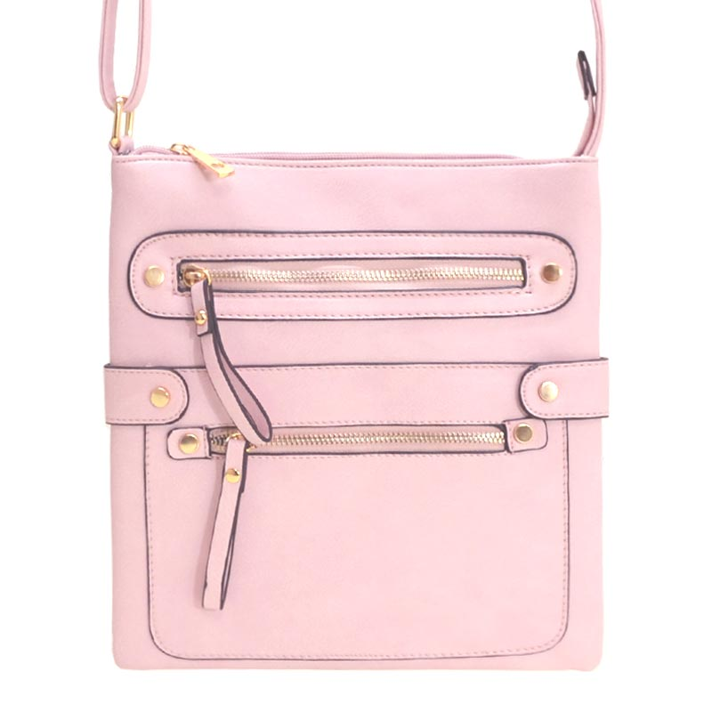 Fashion Zip Pocket Crossbody Blush