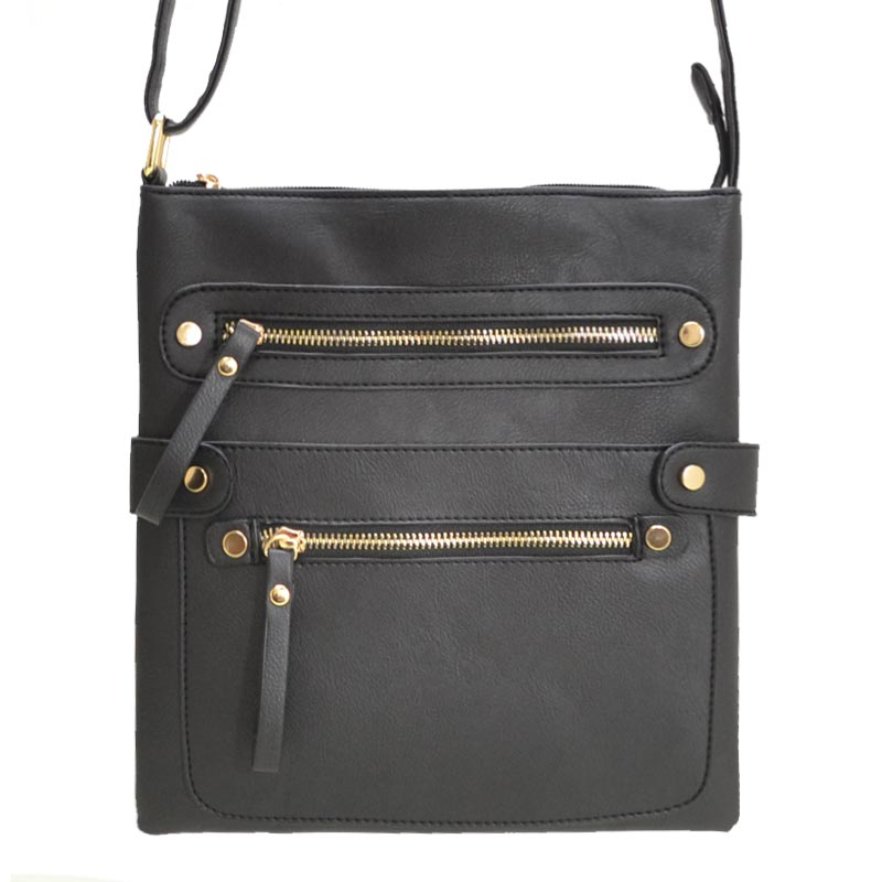Fashion Zip Pocket Crossbody Black