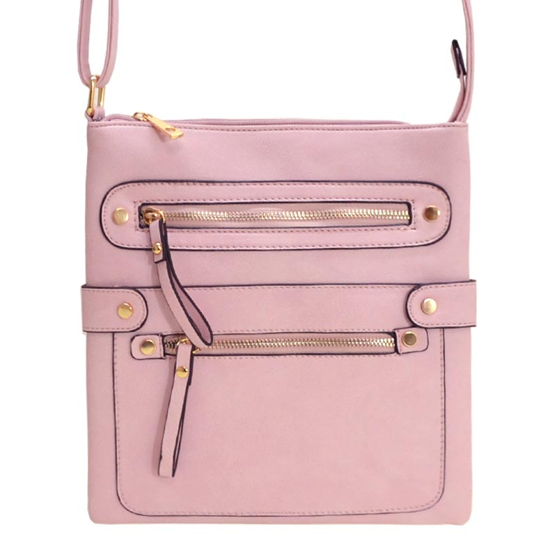 Fashion Zip Pocket Crossbody Pink