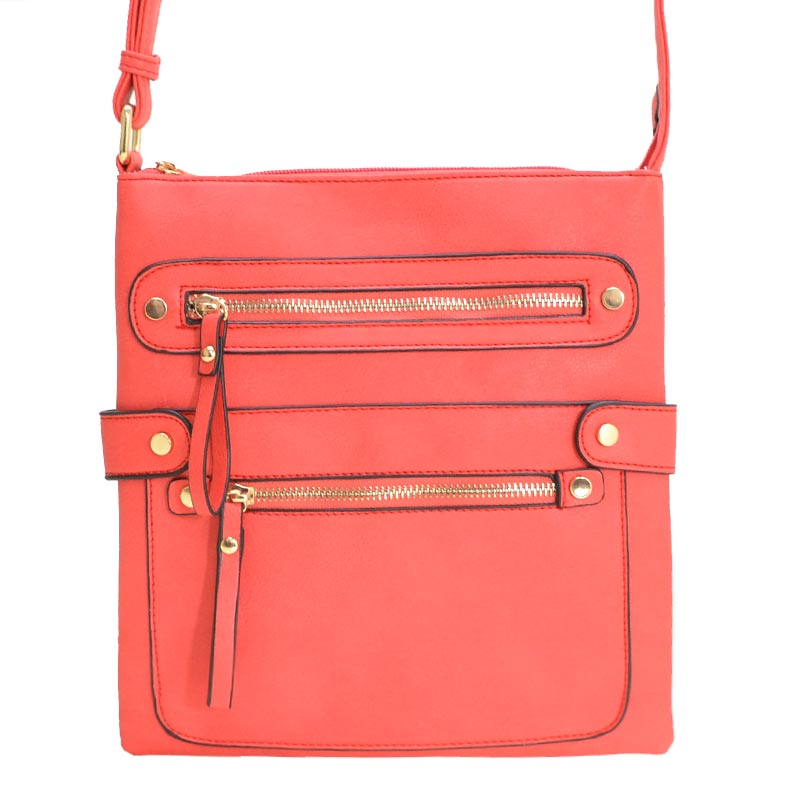Fashion Zip Pocket Crossbody Red