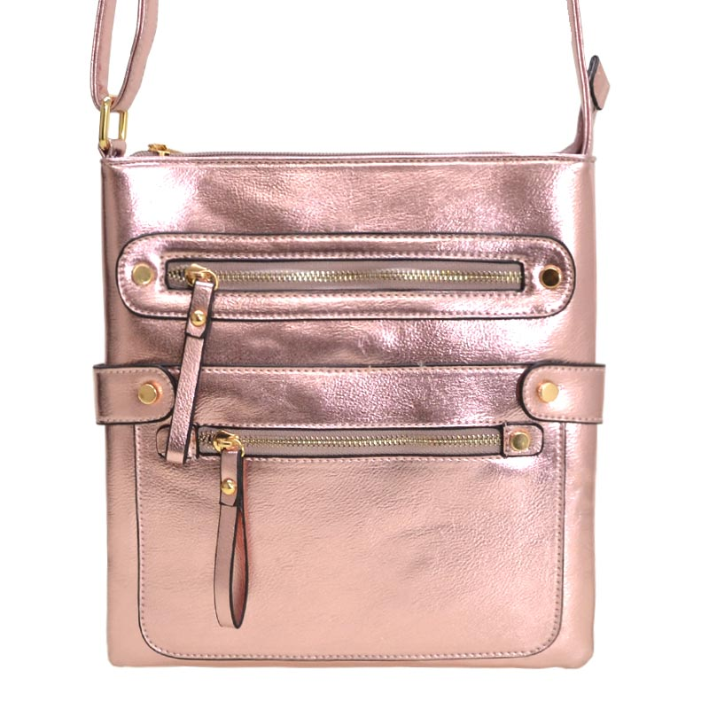 Fashion Zip Pocket Crossbody Rose Gold