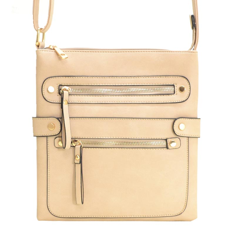 Fashion Zip Pocket Crossbody Sand