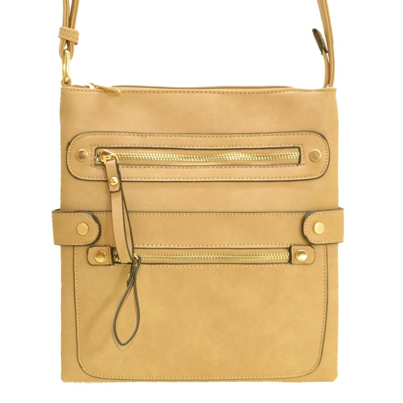Fashion Zip Pocket Crossbody Sand Tan