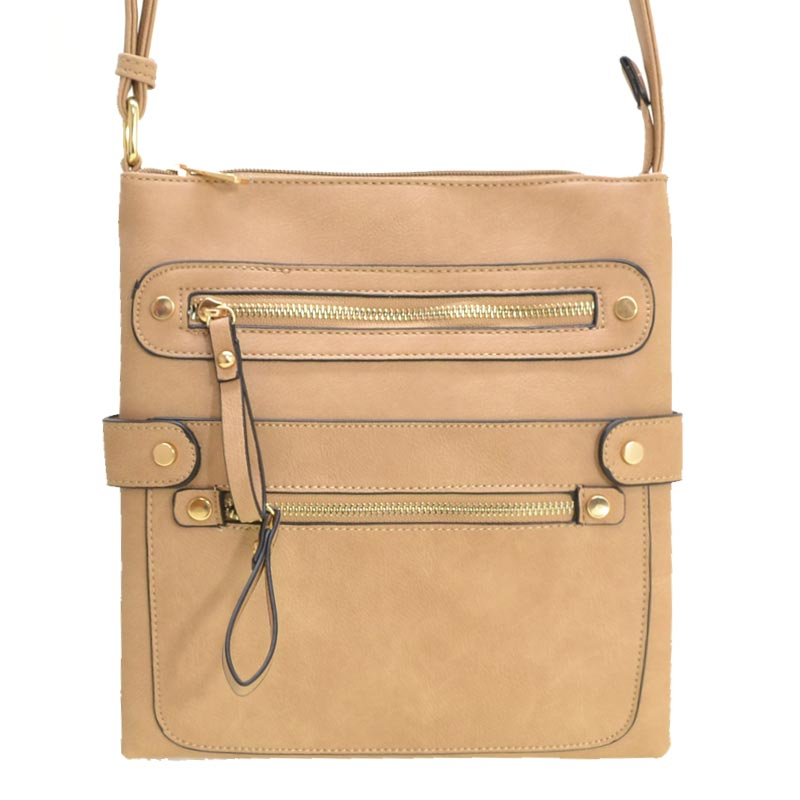 Fashion Zip Pocket Crossbody Sand Taupe