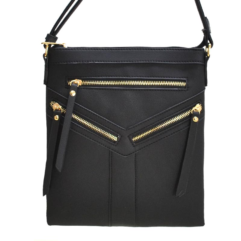 Fashion Zip Messenger Bag Black