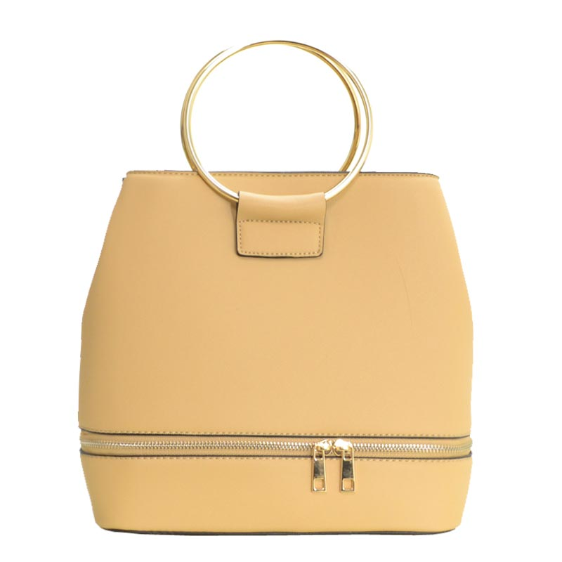 Metal Handle Elegant Fashion Satchel Beige
