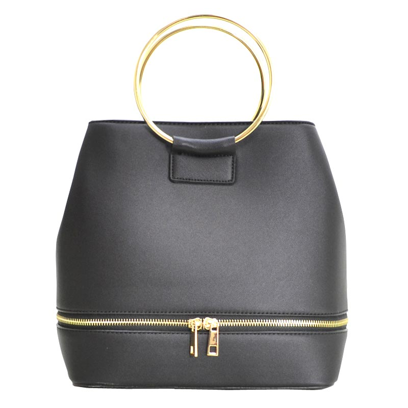 Metal Handle Elegant Fashion Satchel Black
