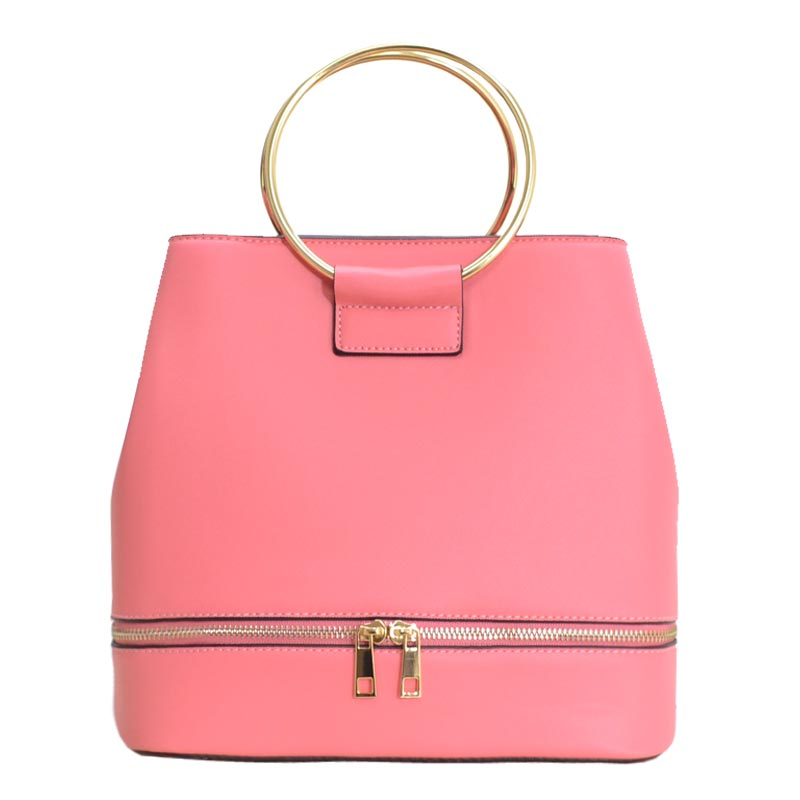 Metal Handle Elegant Fashion Satchel Pink