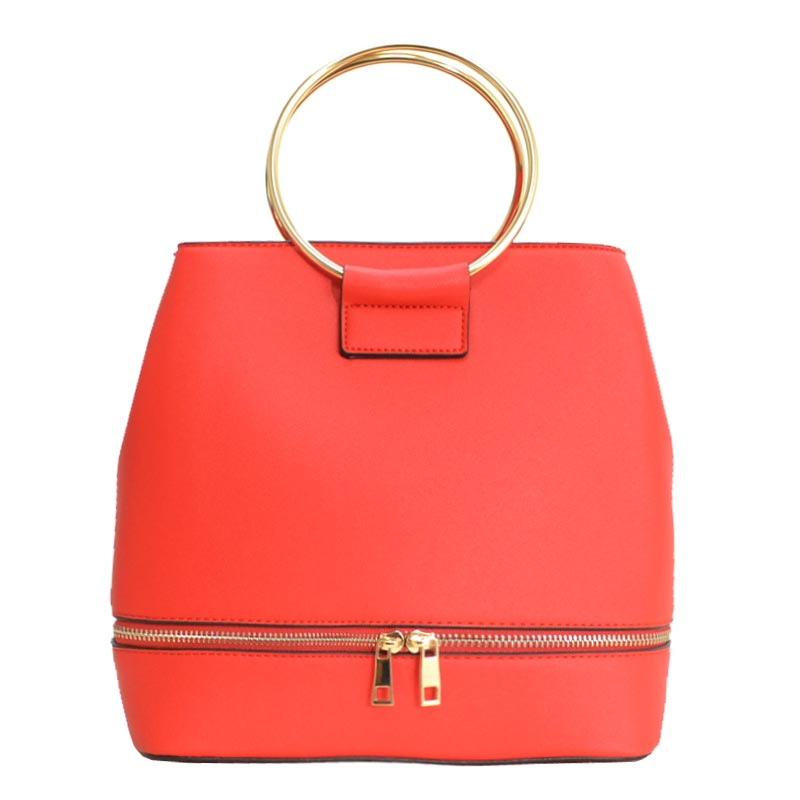 Metal Handle Elegant Fashion Satchel Red