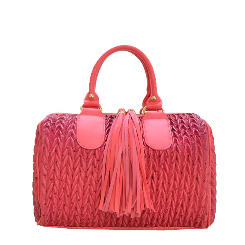 Fashion Tassel Handbag with Long Strap Champagne