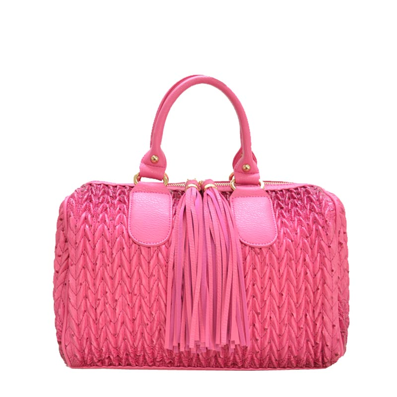 Fashion Tassel Handbag with Long Strap Fuchsia