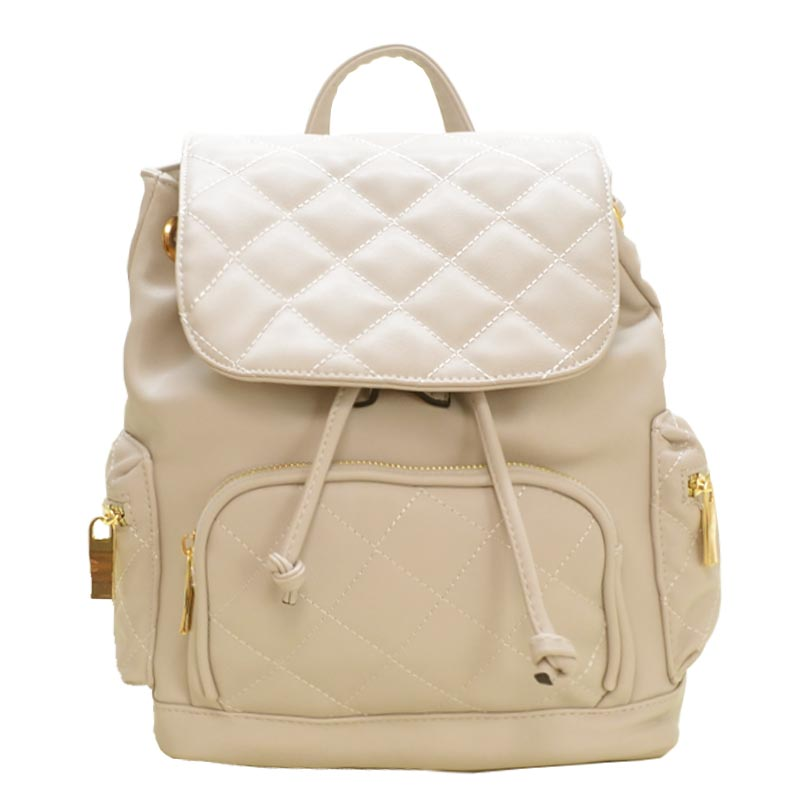 Urban Quilted Fashion Backpack Beige