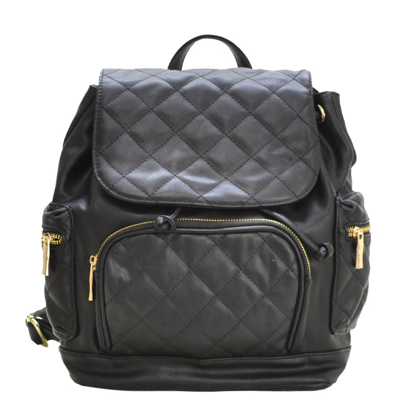 Urban Quilted Fashion Backpack Black