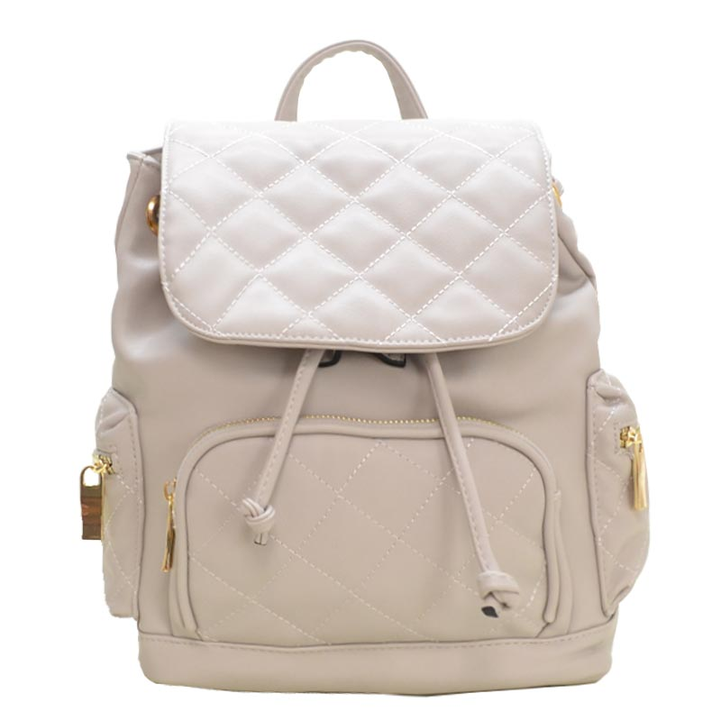 Urban Quilted Fashion Backpack Light Grey