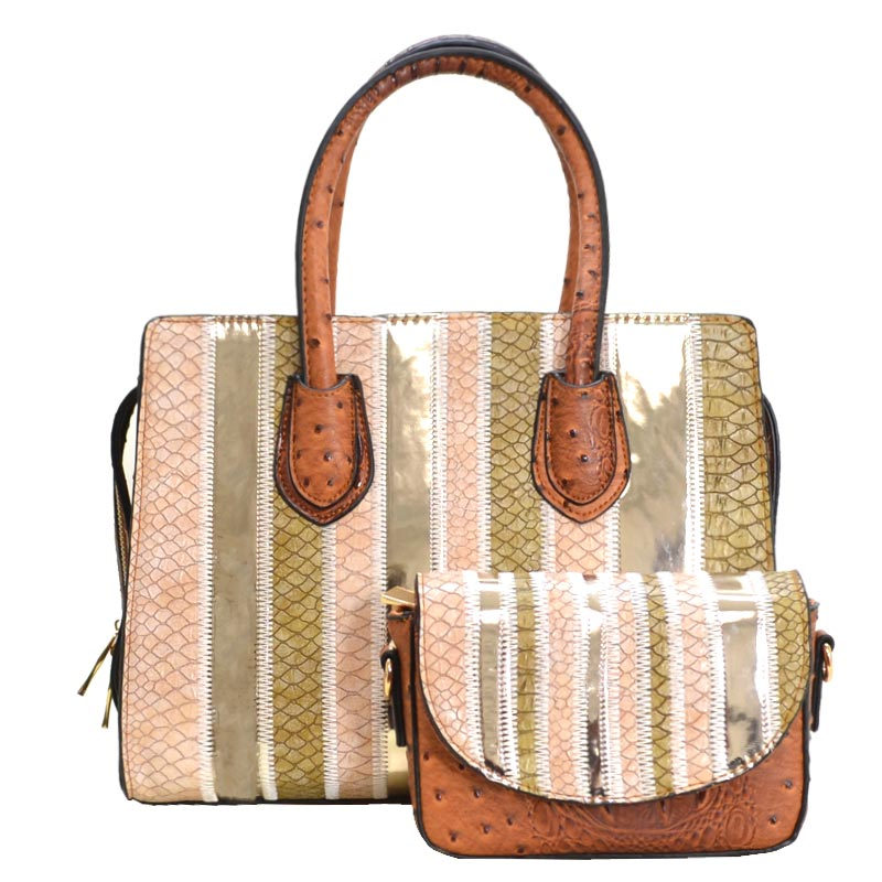 Color Patch Ostrich Skin 2 in 1 Satchel Brown