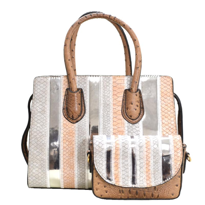 Color Patch Ostrich Skin 2 in 1 Satchel Stone