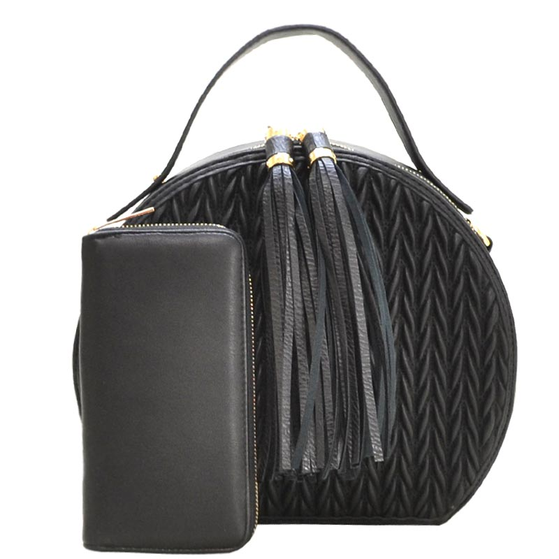 Tassel Accent Quilted Round Satchel with Wallet Black