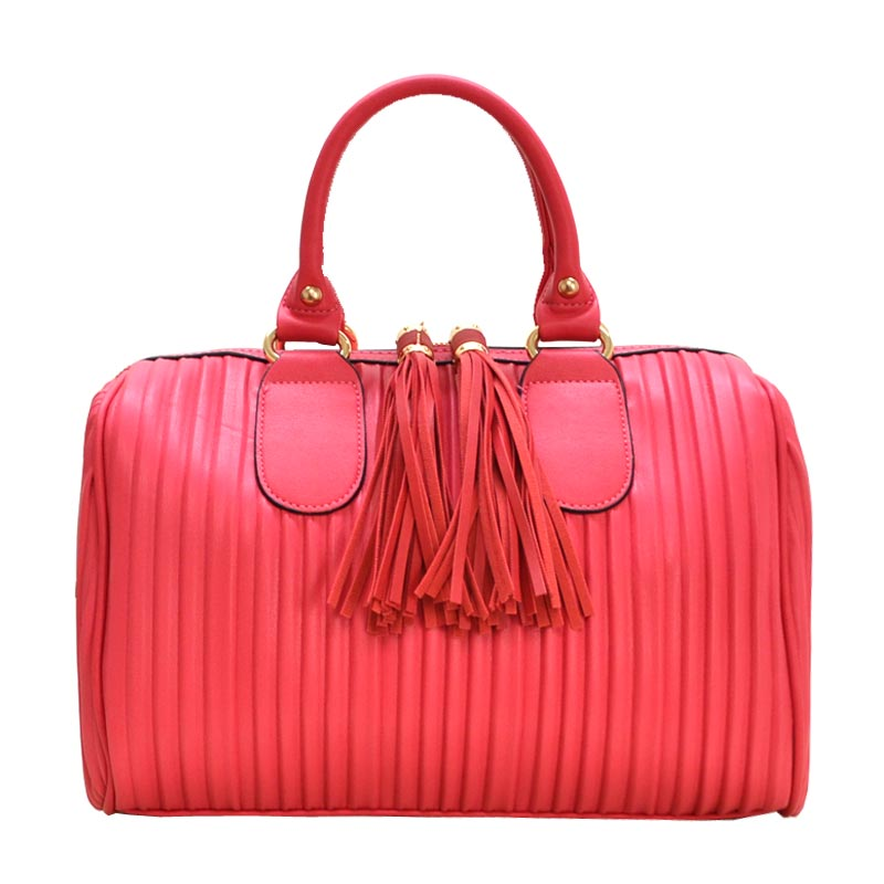 Large Fashion Tassel Handbag with Long Strap Fuchsia
