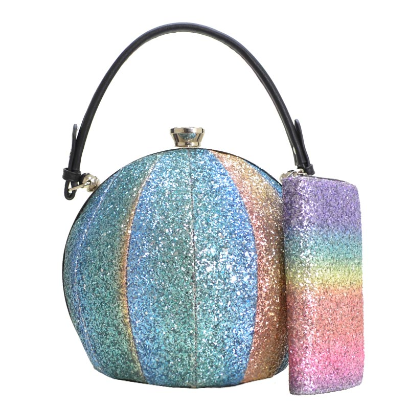 Multi Colored Glitter Ball Shaped Satchel 1