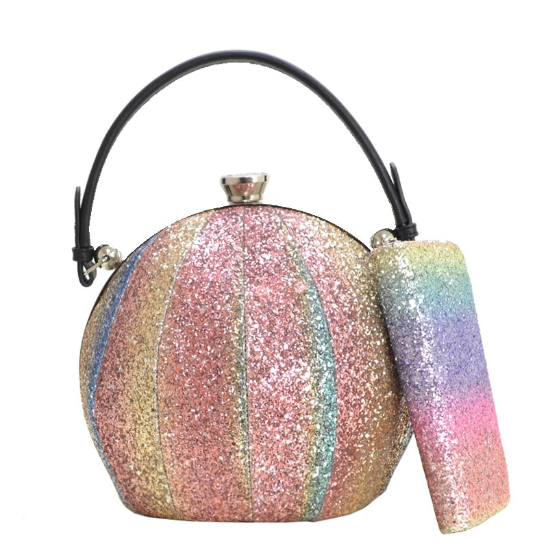 Multi Colored Glitter Ball Shaped Satchel 4 Larger Image