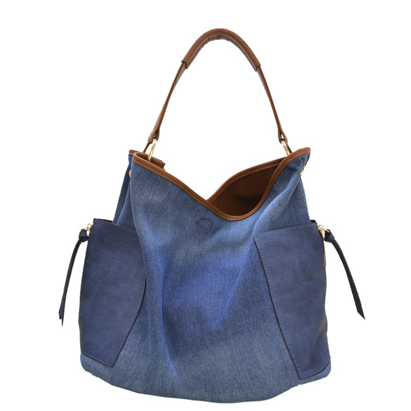 2 IN 1 DENIM HOBO Dark Blue