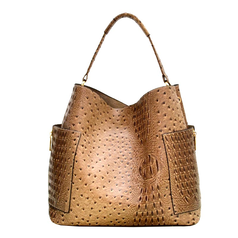 Ostrich Textured Zipper Ornament Accent Hobo Bag Nude