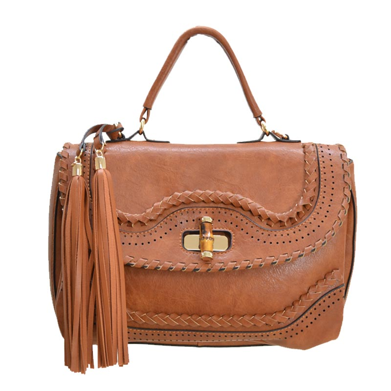 Fashion Satchel with Bamboo Twist Lock Brown