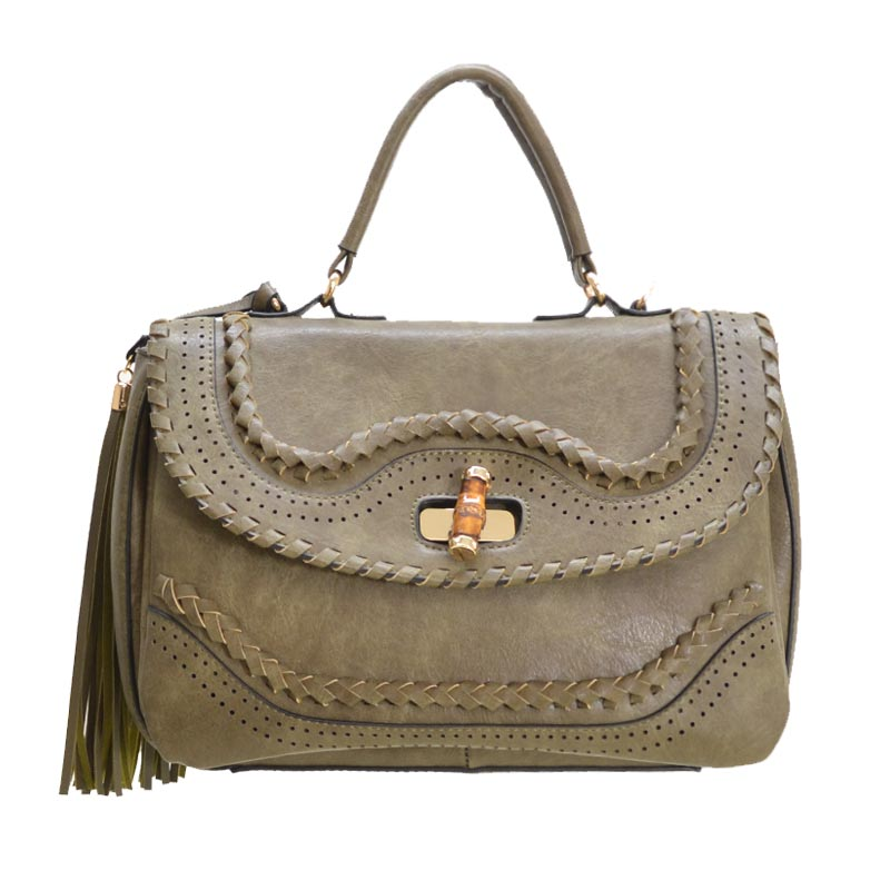 Fashion Satchel with Bamboo Twist Lock Olive