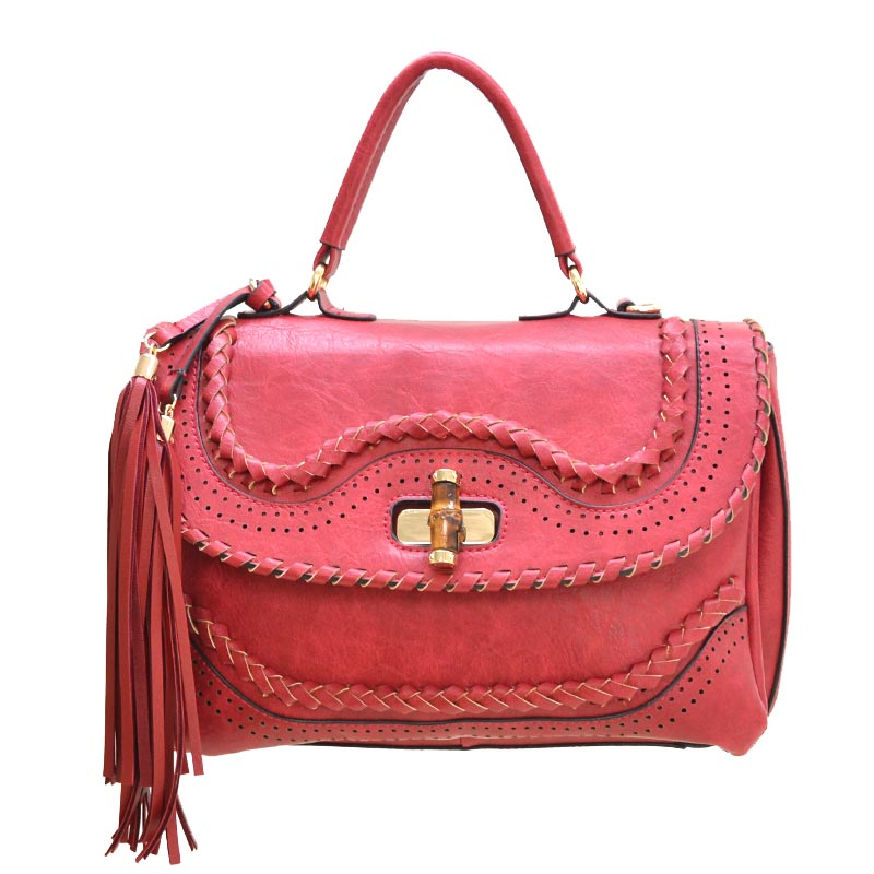 Fashion Satchel with Bamboo Twist Lock Red