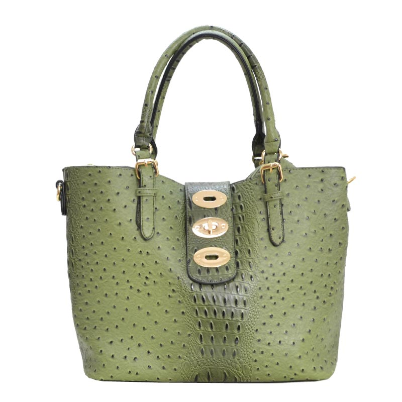 Ostrich Embossed 3 in 1 Tote Wallet Set Olive
