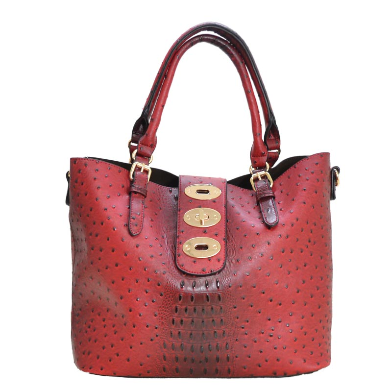 Ostrich Embossed 3 in 1 Tote Wallet Set Red