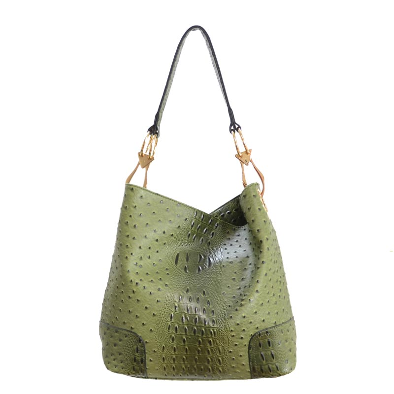 Ostrich Embossed side Ring Large Bag Olive