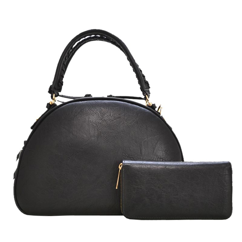 Fashion Top Handle Dome Satchel & Wallet Set Black