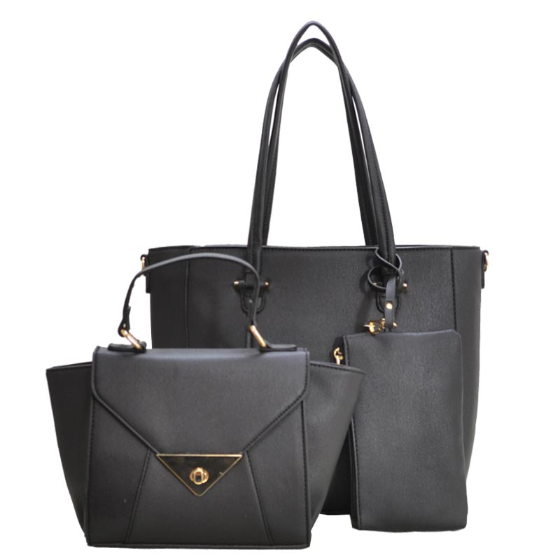 CLASSY 3 IN 1 TOTE Crossbody Value Set Black