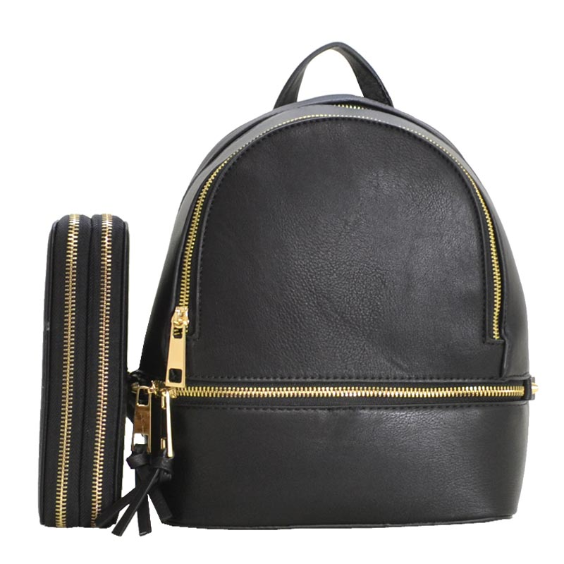 Fashion Small Backpack with Wallet Black
