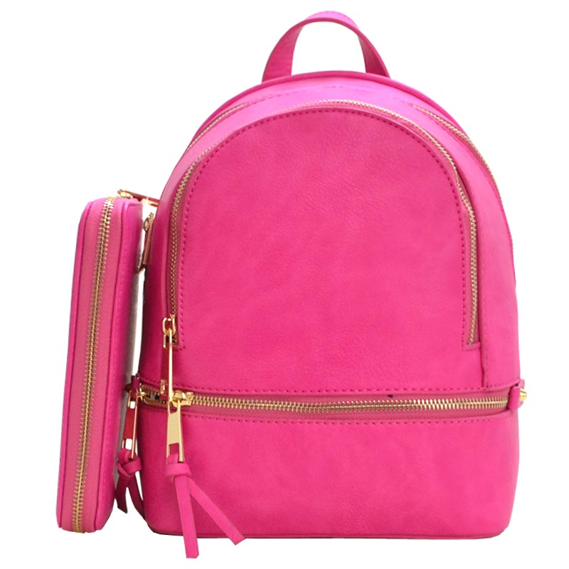 Fashion Small Backpack with Wallet Fuchsia