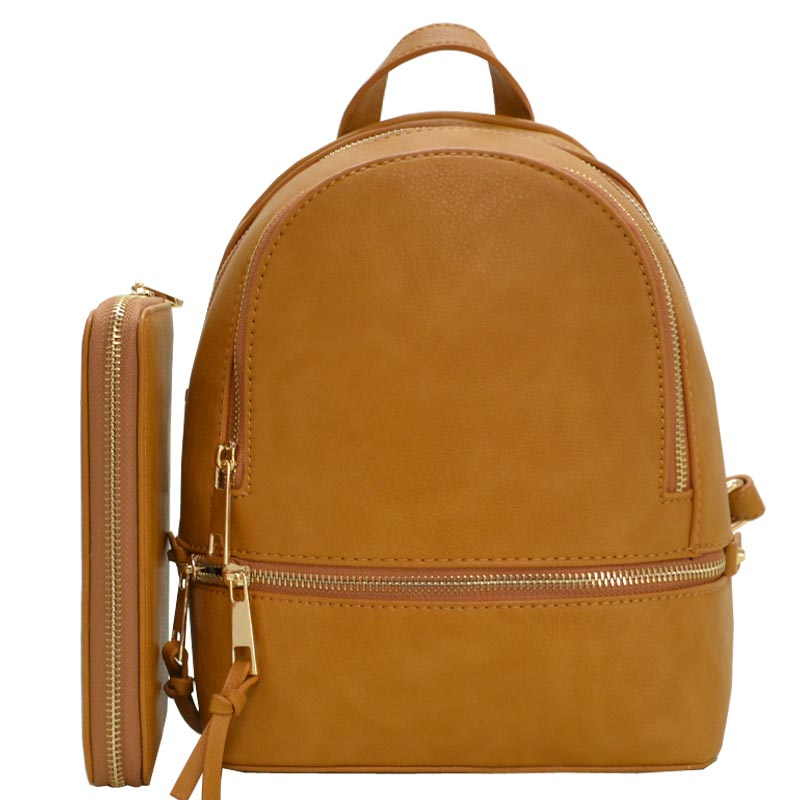 Fashion Small Backpack with Wallet Mustard