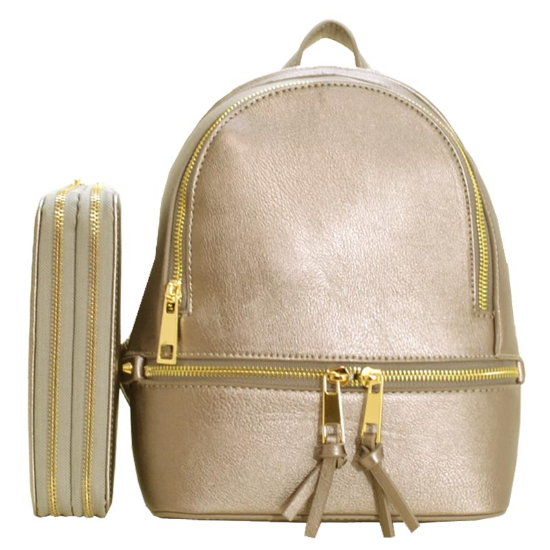 Fashion Small Backpack with Wallet Pewter