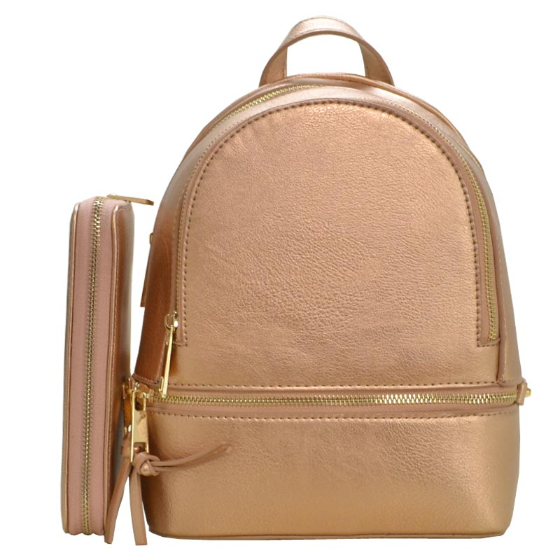 Fashion Small Backpack with Wallet Rose Gold